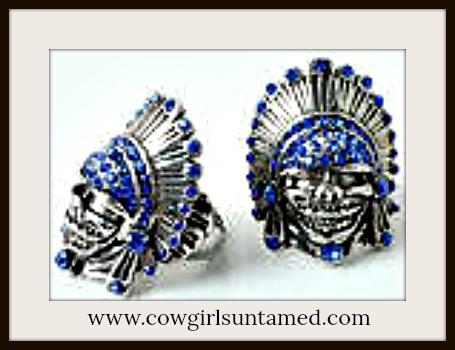 COWGIRL GYPSY RING Rhinestone Indian Chief Skull Western Cowgirl Chic Antique Adjustable Ring