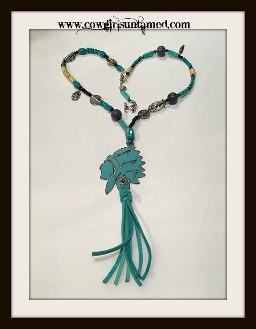 GYPSY SOUL NECKLACE Teal Copper Indian Chief Pendant Gemstone & Charm Beaded Necklace