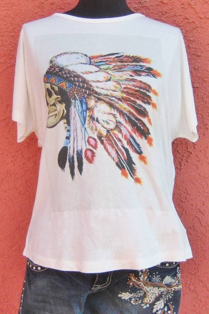 AMERICAN COWGIRL TOP Ivory Dolman Sleeve Indian Chief Skull Western T-shirt Top