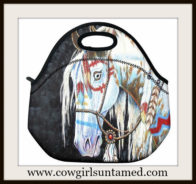 WESTERN COWGIRL HOME Indian War Pony Lunch Bag Cooler Tote
