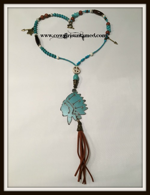 GYPSY SOUL NECKLACE Brown Copper Indian Chief Pendant Gemstone & Charm Beaded Necklace