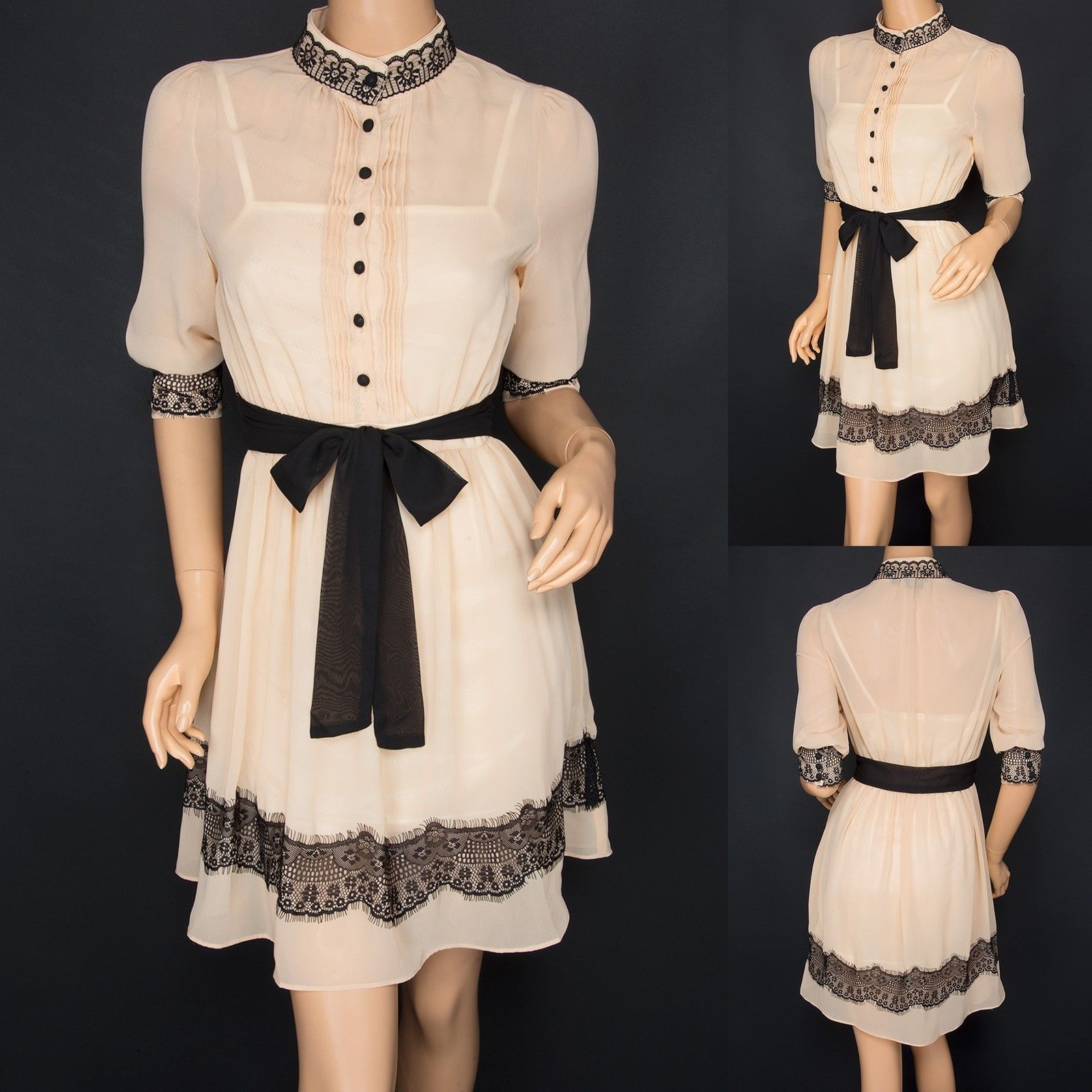 COWGIRL GYPSY DRESS Ivory Sheer Chiffon Button Front Black Lace Belted & Lined Western Dress