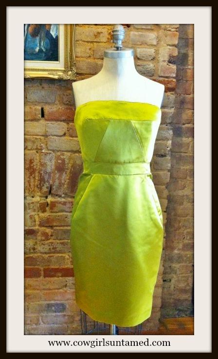 COWGIRL GLAM DRESS Lime Green Satin Corset Style Pencil Skirt Designer Dress