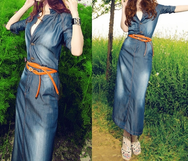 COWGIRL GYPSY DRESS Button Front Long Sleeve Belted Blue Denim Jean Dress