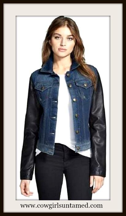 LAUNDRY by SHELLI SEGAL Faux Leather Sleeve Blue Denim Designer Jacket