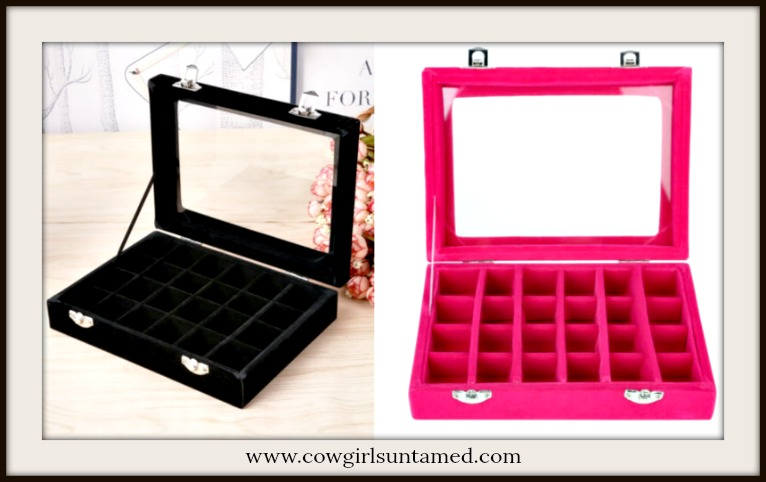 JEWELRY RING ORGANIZER Velvet Ring Organizer with Clear Top  2 COLORS!