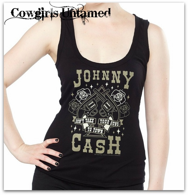 COWGIRLS ROCK TANK TOP Black Johnny Cash Don't Bring Your Guns to Town