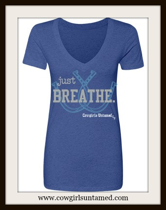 "WESTERN COWGIRL TEE ""Just Breathe"" Light Blue Lucky Horseshoes on V Neck Short Sleeve T-Shirt"