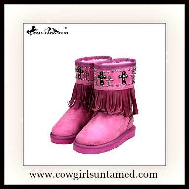 LIL' COWGIRL BOOTS Children's Pink Fringe Studded Cross Fur Lined Comfy Winter Boots