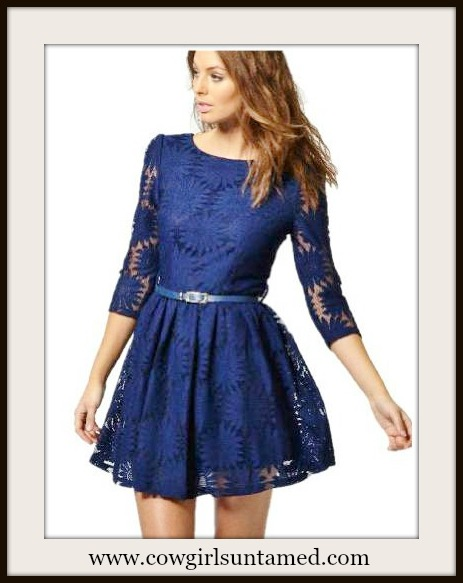 WILD FLOWER DRESS Blue Sunflower Lace Deep V Back Dress with FREE BELT