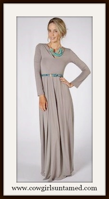 WILD FLOWER DRESS Mocha Brown Long Sleeve Scoop Neck Pleated Skirt Boho Maxi Dress