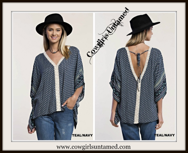 UMGEE TOP Cream Crochet Lace Neckline Deep V Neck on Blue & Teal Boho Kaftan Top