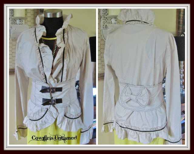 WILDFLOWER JACKET Khaki with Brown Buckles and Stitching Ruffle Jacket