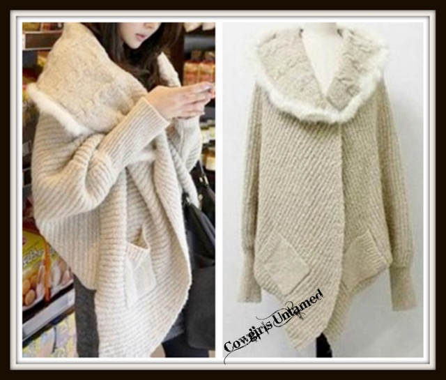 COWGIRL GYPSY SWEATER Cream Fur Trimmed Wide Collar Oversized Open Beige Cardigan