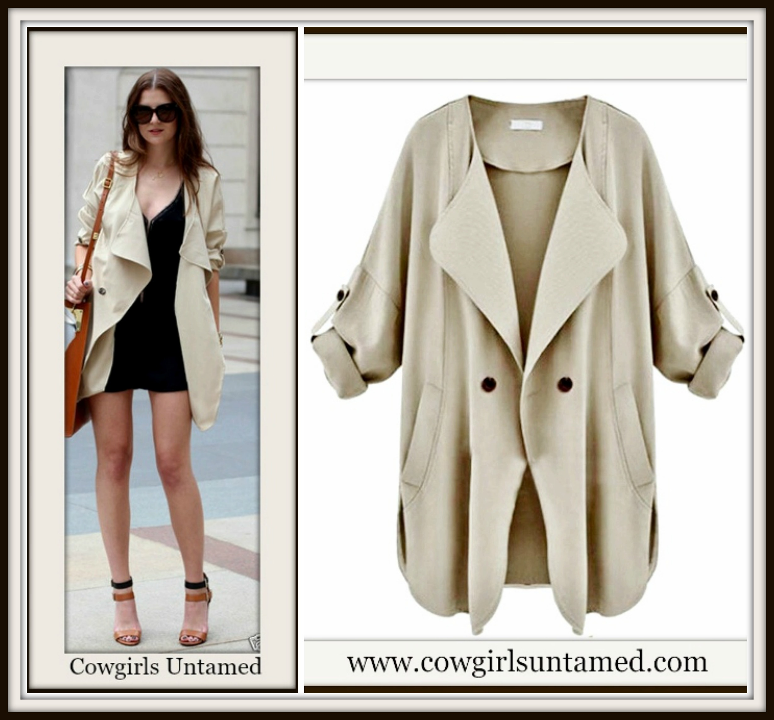 COWGIRL GLAM COAT Khaki Open Flowy Trench Coat