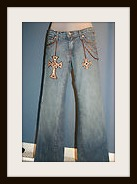 "COWGIRL GLAM JEANS Kippy's Swarovski Crystal and Leather Iron Cross Denim Blue Designer Western Jeans 30""x 31"""