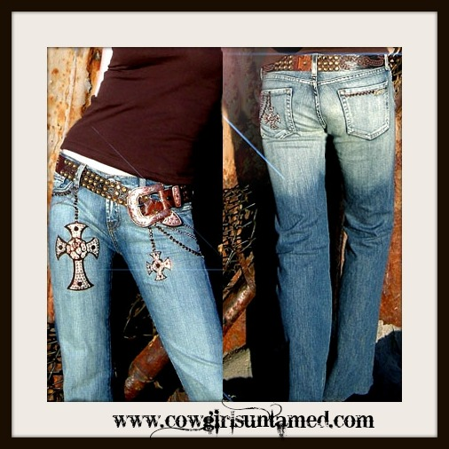 COWGIRL STYLE JEANS Kippy's Swarovski Crystal and Leather Iron Cross & Details Denim Jean Designer Western Jean