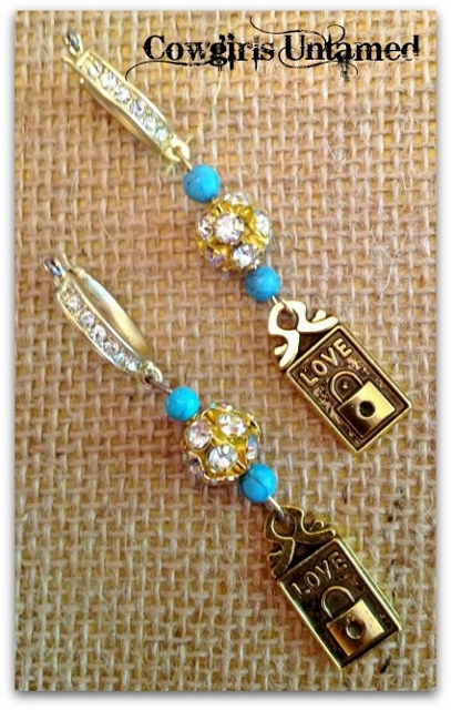 COWGIRL STYLE EARRINGS Turquoise N' Rhinestones with