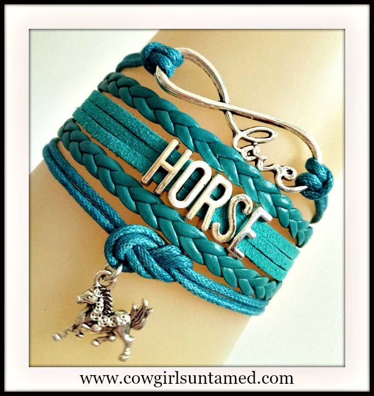 "HORSE LOVER BRACELET  Teal Leather with Silver ""HORSE"" and Horse Charm Bracelet"