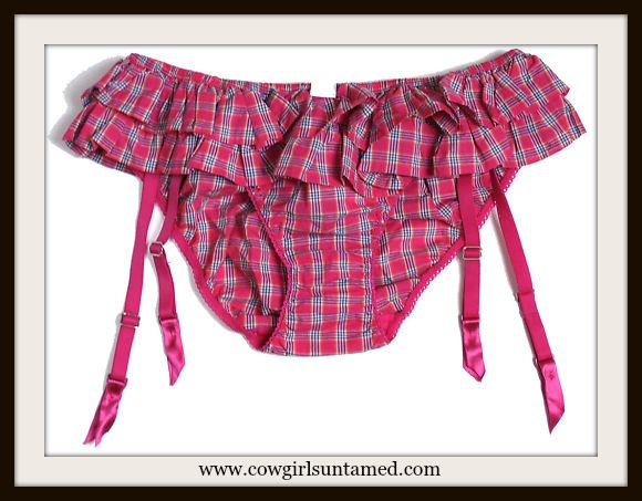COUNTRY COWGIRL LINGERIE Sexy Pink Tartan Cowgirl Plaid Ruffle Panties Under Garment Knickers & Garter Suspenders