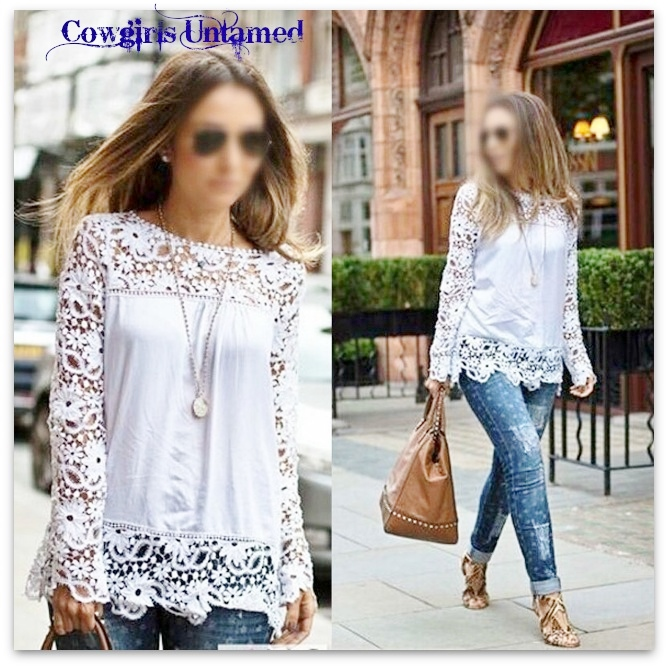 COWGIRL GYPSY TOP White Lace Long Sleeve & Hem Chiffon Loose Fit Western Top