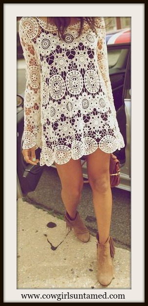 COWGIRL GYPSY TOP Lace Crochet 3/4 Sleeve Scoop Neck Top