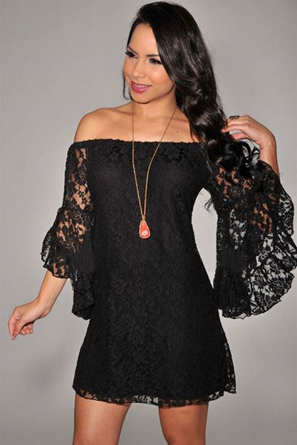 COWGIRL GYPSY DRESS Black Stretchy Lace Off the Shoulder Western Mini Dress Tunic Top