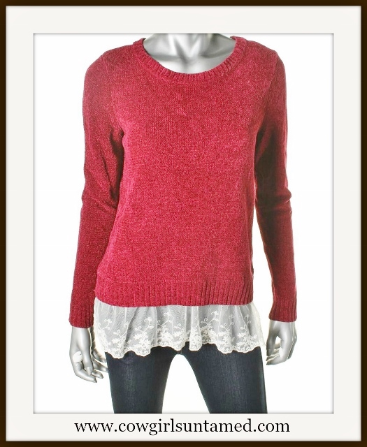 OH MG! SWEATER Lace Trim RED Designer Pullover Sweater