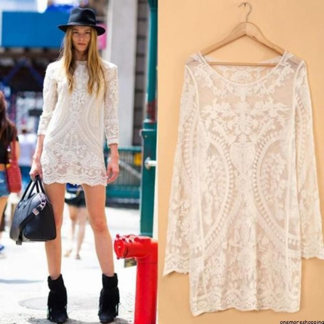 COWGIRL GYPSY DRESS Crochet Lace Long Sleeve Semi Sheer Western Sheath Dress