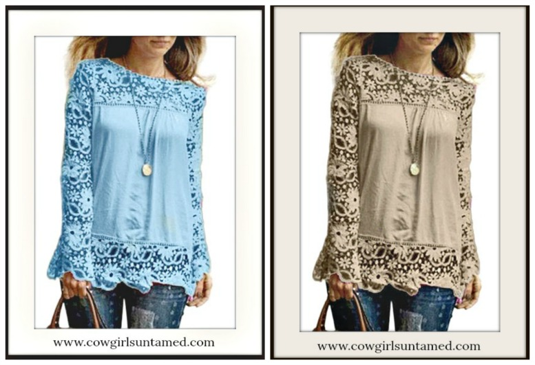 COWGIRL GYPSY TOP Lace Long Sleeve & Hem Chiffon Loose Fit Top