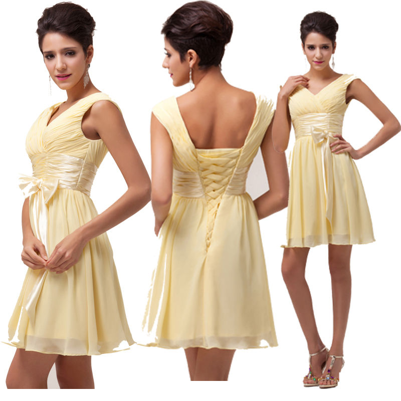 COWGIRL GLAM DRESS Ruched Bodice V Neck Lace Up Back Fitted Waist and Bow Pastel Yellow Chiffon Western Dress