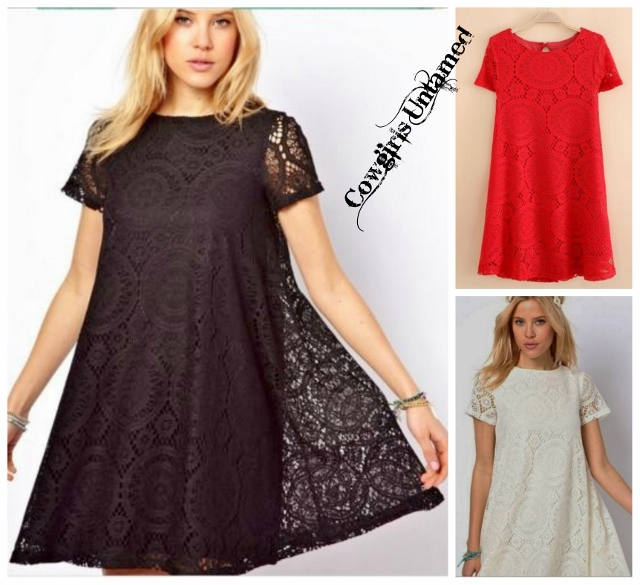 COWGIRL GYPSY DRESS Cap Sleeve Lace Lined Mini Dress