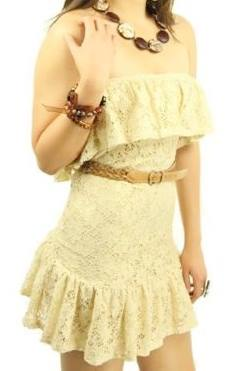 COWGIRL GYPSY DRESS Lace Ruffle Strapless Fitted Western Mini Dress