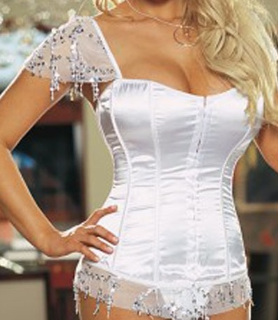 Cowgirls untamed gt corset lace and sequin sleeves and trim on satin