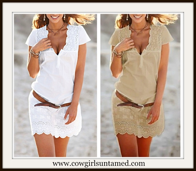 COWGIRL GYPSY DRESS Eyelet Lace Short Sleeve Mini Dress / Tunic Top & FREE BELT