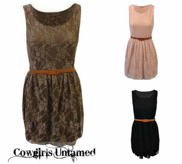 COWGIRL GYPSY DRESS Stretchy Floral Lace Sleeveless Pleated Dress with FREE Belt