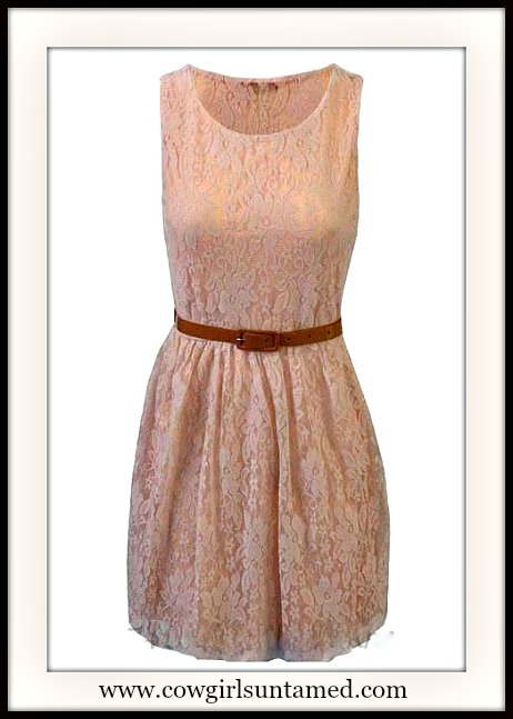 COWGIRL GYPSY DRESS Peach Lace Sleeveless Dress with FREE Belt