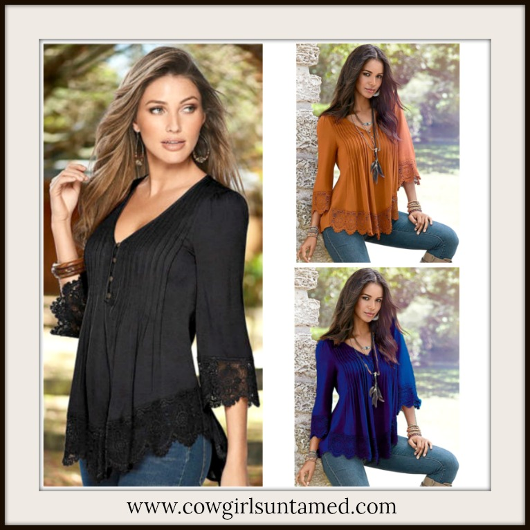 DREAM RANCH TOP Pintuck and Lace V Neck 3/4 Sleeve Top