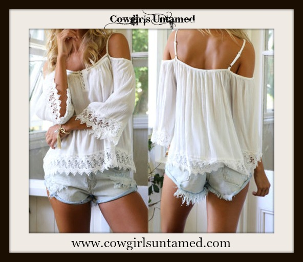 WILDFLOWER TOP White Chiffon and Lace Trim Open Shoulder Boho Top
