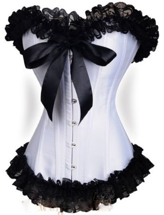 CORSET - Black Lace Ruffle Trim Sweetheart Neckline Ribbon Bow White Satin Corset Top
