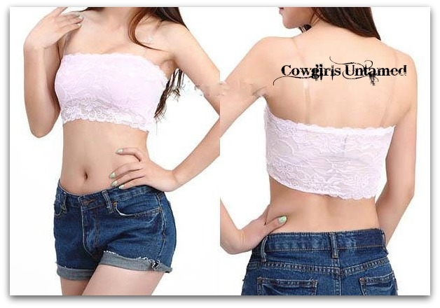 WILD FLOWER TOP Lace Stretchy Bandeau Top with Removable Clear Straps