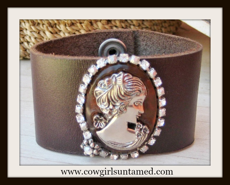 COWGIRL GYPSY CUFF Rhinestone Silver Cameo on Brown Leather Western Cuff Bracelet