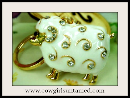 COUNTRY LOVIN' KEYCHAIN Beautiful Soft White Enamel and Rhinestone Sheep Keychain