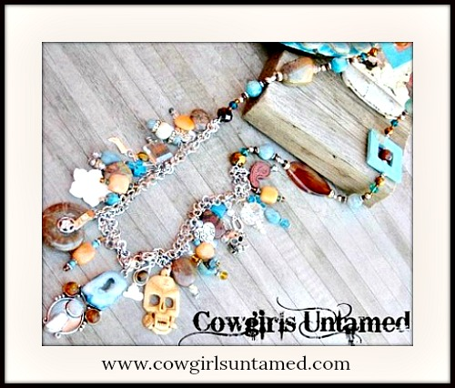 COWGIRL GYPSY NECKLACE Large Blue Druzy, Amber & Pearl Sterling Silver Pendant on Gemstone Charm EXTRA LONG Necklace