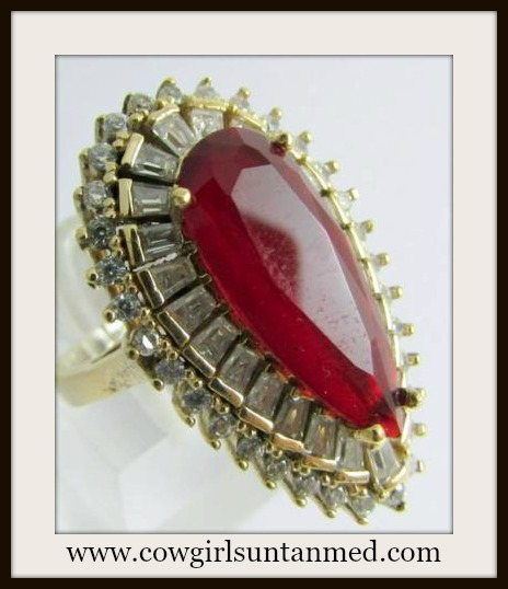 VINTAGE GYPSY RING Red Ruby Sterling Silver Cocktail Ring