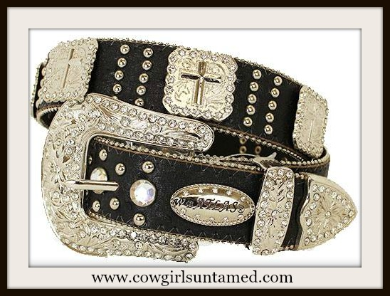 COWGIRL STYLE BELT Large Silver Cross Concho Rhinestone Studded Black Leather Western Belt