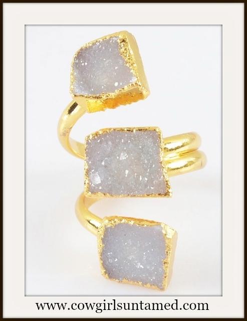 COWGIRL GYPSY RING Genuine Triple Lavender Agate Druzy N Gold Plated Boho Ring