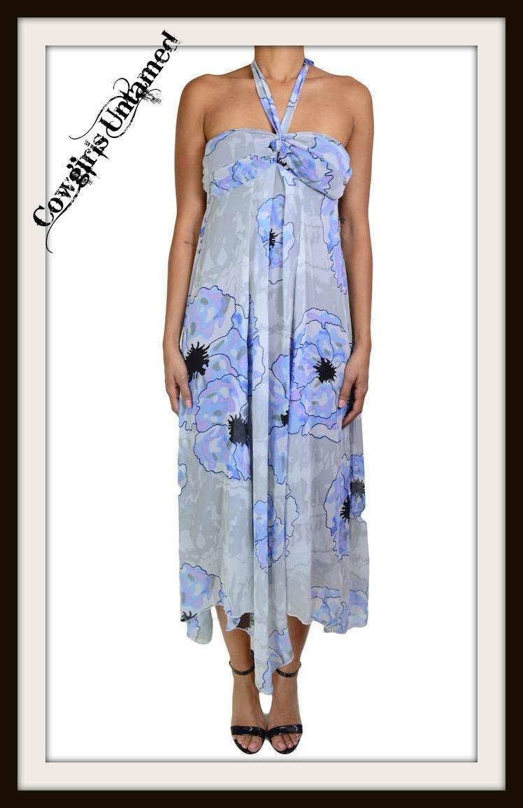 COWGIRL GLAM DRESS Floral Chiffon Halter Summer Dress