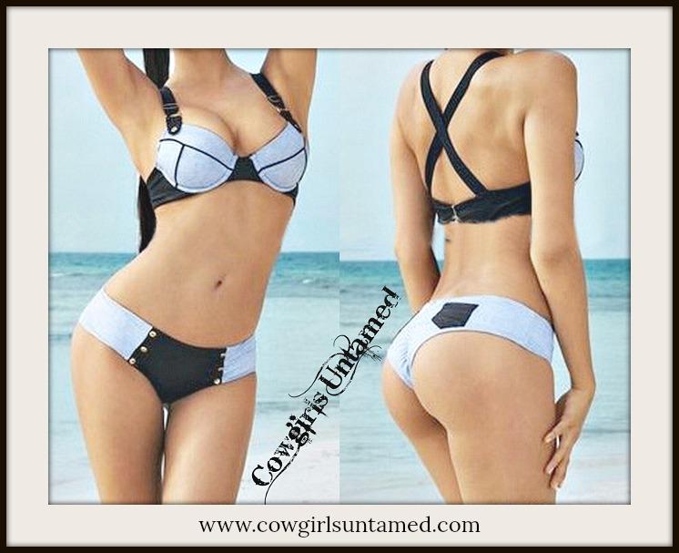 SEXY COWGIRL BIKINI Lavender n Black Criss Cross Back Bikini