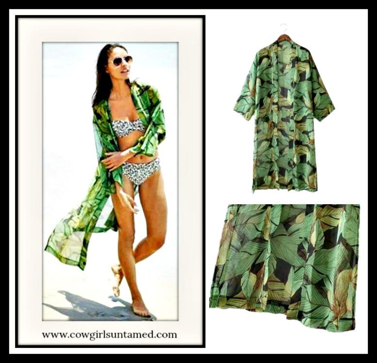 SUNDANCE COWGIRL KIMONO Shades of Green Long Kimono Jacket/Cover Up